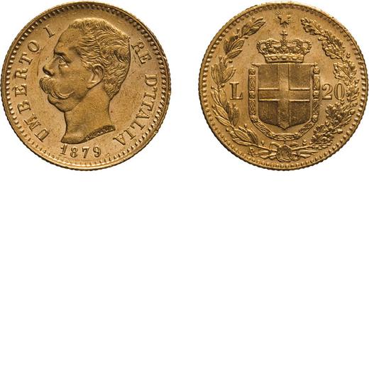 REGNO DITALIA. UMBERTO I. 20 LIRE 1879 Roma. Oro, 6,45 gr, 21 mm, colpetti sul bordo, BB+/qSPL.<br>D