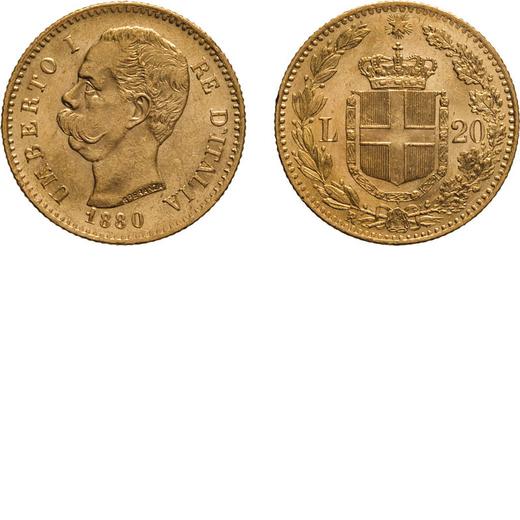 REGNO DITALIA. UMBERTO I. 20 LIRE 1880 Roma. Oro, 6,44 gr, 21 mm, SPL.<br>D: UMBERTO I RE DITALIA Te