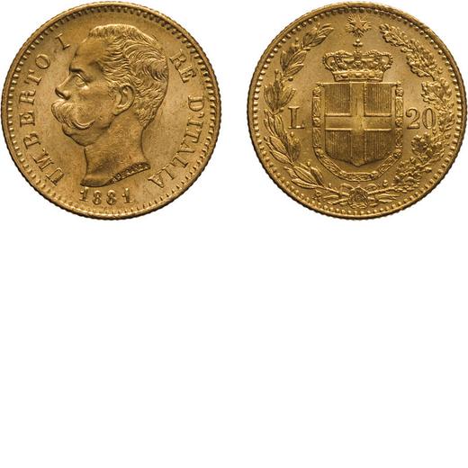 REGNO DITALIA. UMBERTO I. 20 LIRE 1881 Roma. Oro, 6,44 gr, 21 mm, SPL+.<br>D: UMBERTO I RE DITALIA T