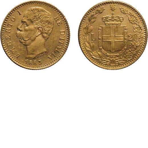 REGNO DITALIA. UMBERTO I. 20 LIRE 1883 Roma. Oro, 6,45 gr, 21 mm, SPL.<br>D: UMBERTO I RE DITALIA Te