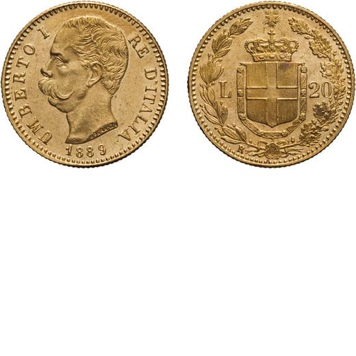 REGNO DITALIA. UMBERTO I. 20 LIRE 1889 Roma. Oro, 6,45 gr, 21 mm, SPL+. Rara.<br>D: UMBERTO I RE DIT