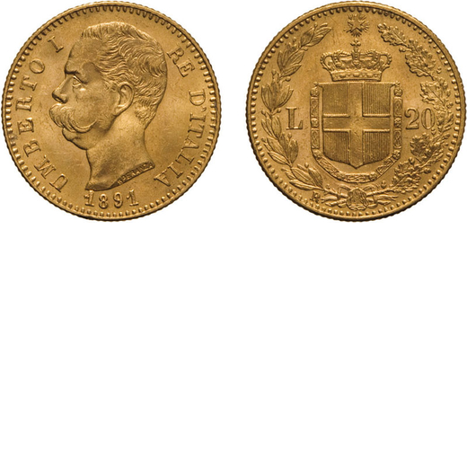 REGNO DITALIA. UMBERTO I. 20 LIRE 1891 Roma. Oro, 6,45 gr, 21 mm, SPL+.<br>D: UMBERTO I RE DITALIA T