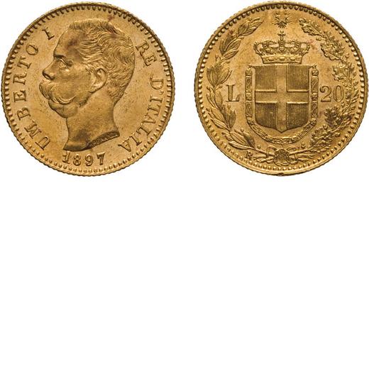 REGNO DITALIA. UMBERTO I. 20 LIRE 1897 Roma. Oro, 6,45 gr, 21 mm, SPL. Rara.<br>D: UMBERTO I RE DITA