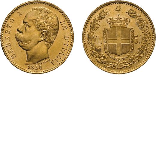 REGNO DITALIA. UMBERTO I. 50 LIRE 1884 Roma. Oro, 16,15 gr, 28 mm, SPL+/qFDC. Rara.<br>D: UMBERTO I