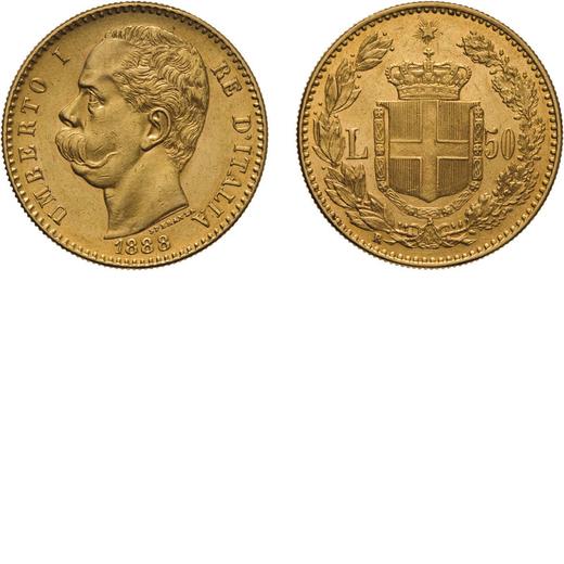 REGNO DITALIA. UMBERTO I. 50 LIRE 1888 Roma. Oro, 16,15 gr, 28 mm, SPL. Molto Rara.<br>D: UMBERTO I