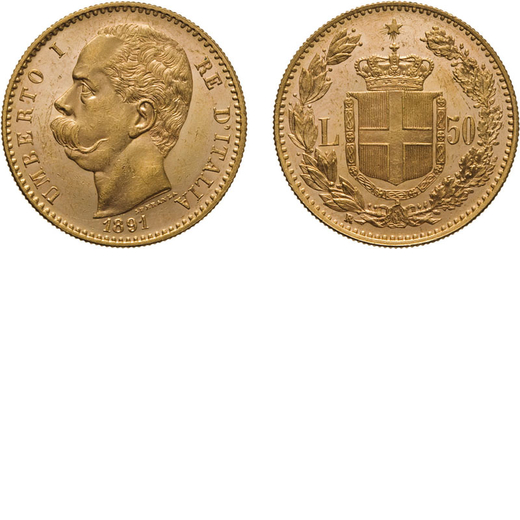 REGNO DITALIA. UMBERTO I. 50 LIRE 1891 Roma. Oro, 16,15 gr, 28 mm, SPL+/qFDC. Ex Varesi 55. Rarissim