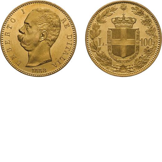 REGNO DITALIA. UMBERTO I. 100 LIRE 1888 Roma. Oro, 32,29 gr, 35 mm, qFDC. Molto Rara.<br>D: UMBERTO