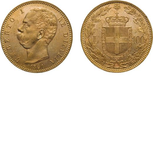 REGNO DITALIA. UMBERTO I. 100 LIRE 1891 Roma. Oro, 32,30 gr, 35 mm, SPL+. Rarissima. Usuali colpetti