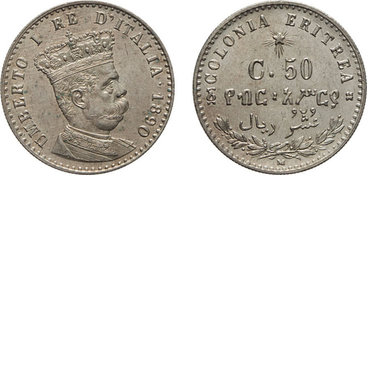 REGNO DITALIA. ERITREA. UMBERTO I. 50 CENTESIMI 1890 Milano. Argento, 2,50 gr, 18 mm, qFDC. Molto Ra