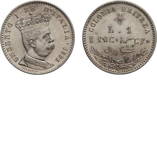 REGNO DITALIA. ERITREA. UMBERTO I. 1 LIRA 1891 Roma. Argento, 5 gr, 23 mm, SPL.<br>D: UMBERTO I RE D