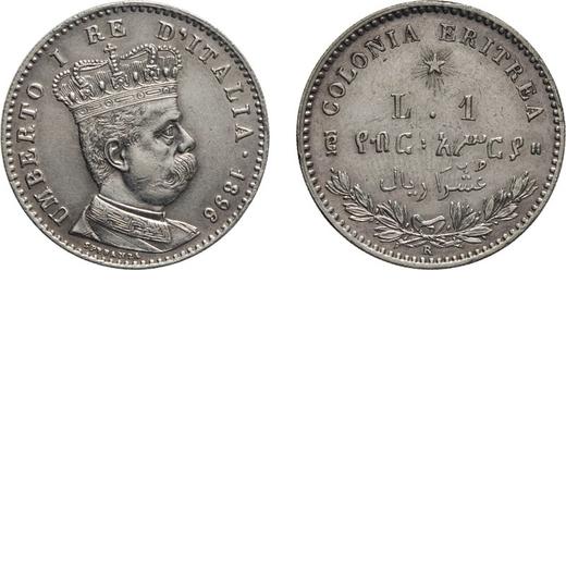 REGNO DITALIA. ERITREA. UMBERTO I. 1 LIRA 1896 Roma. Argento, 4,97 gr, 23 mm, SPL. Molto Rara.<br>D: