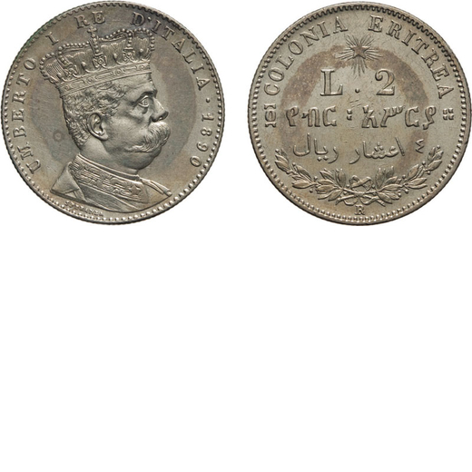 REGNO DITALIA. ERITREA. UMBERTO I. 2 LIRE 1890 Roma. Argento, 9,95 gr, 27 mm, SPL. Molto Rara.<br>D: