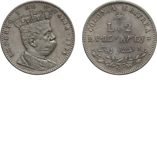 REGNO DITALIA. ERITREA. UMBERTO I. 2 LIRE 1896 Roma. Argento, 10 gr, 27 mm, BB+/qSPL. Molto Rara.<br