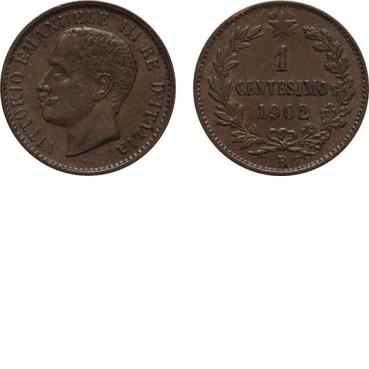 REGNO DITALIA. VITTORIO EMANUELE III. 1 CENTESIMO VALORE 1902  Roma. Rame, 0,99 gr, 15 mm. SPL/FDC.