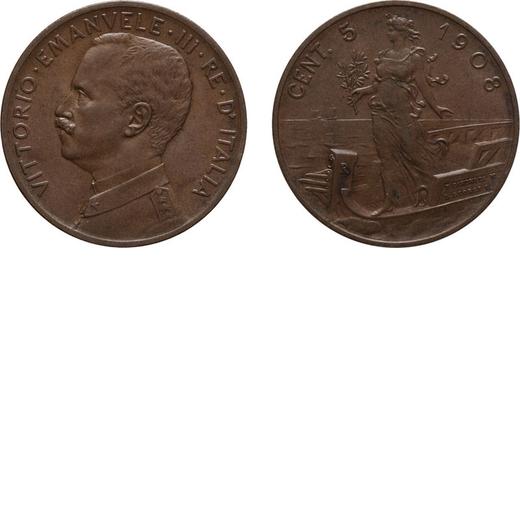 REGNO DITALIA. VITTORIO EMANUELE III. 5 CENTESIMI PRORA 1908 Roma. Rame, 4,85 gr, 25 mm. SPL+. Rara.