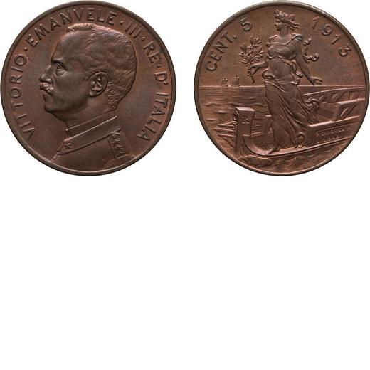 REGNO DITALIA. VITTORIO EMANUELE III. 5 CENTESIMI PRORA 1913 Roma. Rame, 5,02 gr, 25 mm. SPL. Molto