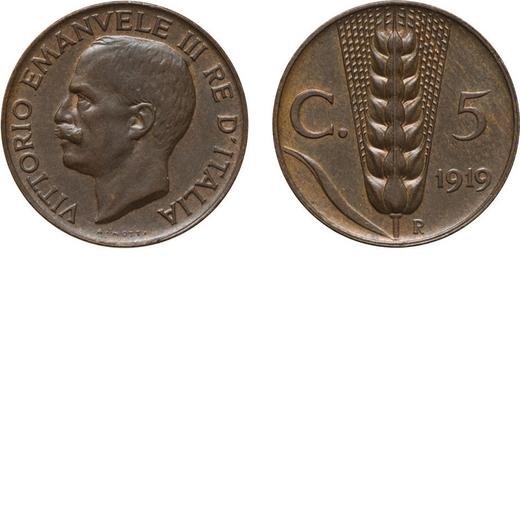 REGNO DITALIA. VITTORIO EMANUELE III. 5 CENTESIMI SPIGA 1919 Roma. Rame, 3,18 gr, 19,5 mm. qFDC.<br>