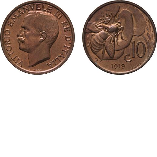 REGNO DITALIA. VITTORIO EMANUELE III. 10 CENTESIMI APE 1919 RAME ROSSO Roma. Rame, 5,45 gr, 22,5 mm,