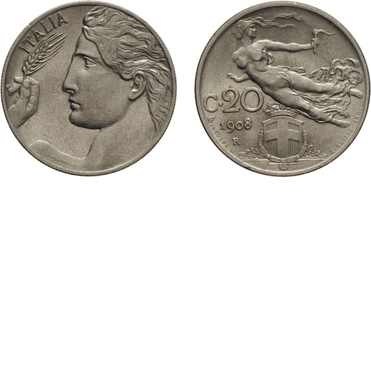 REGNO DITALIA. VITTORIO EMANUELE III. 20 CENTESIMI LIBERTA` 1908 Roma. Nichelio, 3,95 gr, 21,5 mm. q