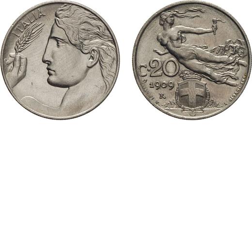 REGNO DITALIA. VITTORIO EMANUELE III. 20 CENTESIMI LIBERTA` 1909 Roma. Nichelio, 3,98 gr, 21,5 mm. F
