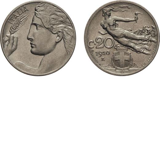 REGNO DITALIA. VITTORIO EMANUELE III. 20 CENTESIMI LIBERTA` 1910 Roma. Nichelio, 4,04 gr, 21,5 mm. q