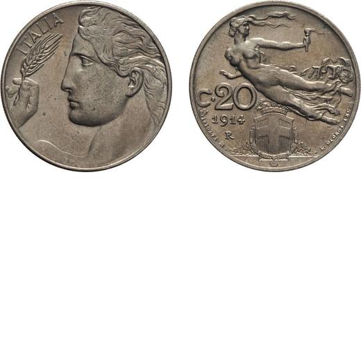 REGNO DITALIA. VITTORIO EMANUELE III. 20 CENTESIMI LIBERTA` 1914 Roma. Nichelio, 3,90 gr, 21,5 mm. q
