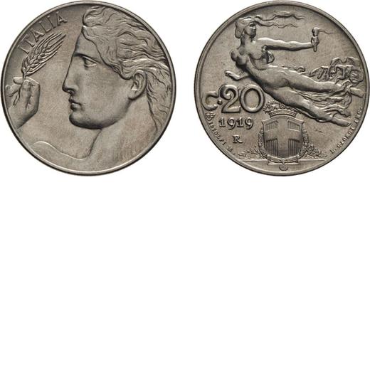 REGNO DITALIA. VITTORIO EMANUELE III. 20 CENTESIMI LIBERTA` 1919 Roma. Nichelio, 4,03 gr, 21,5 mm. S