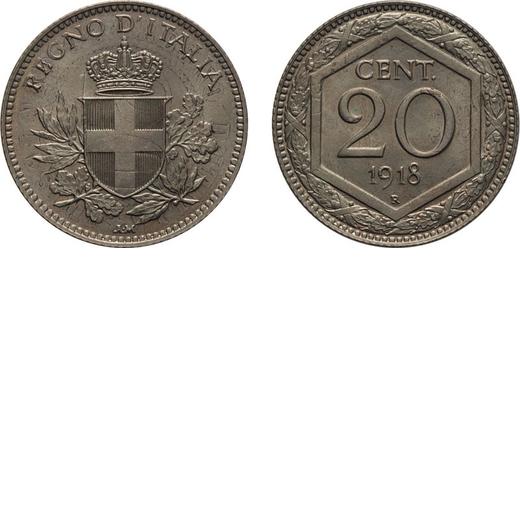 REGNO DITALIA. VITTORIO EMANUELE III. 20 CENTESIMI ESAGONO 1918 BORDO RIGATO Roma. Cupronichel, 3,83