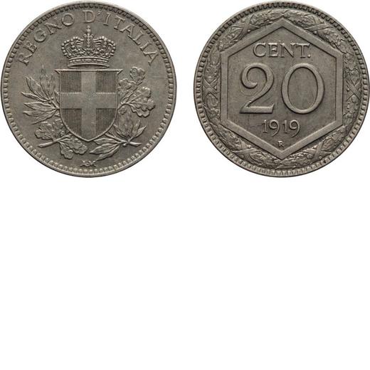 REGNO DITALIA. VITTORIO EMANUELE III. 20 CENTESIMI ESAGONO 1919 Roma. Cupronichel, 3,91 gr, 21 mm. q