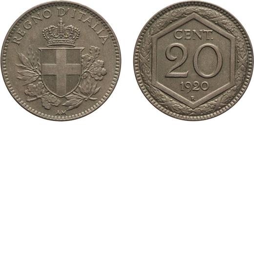 REGNO DITALIA. VITTORIO EMANUELE III. 20 CENTESIMI ESAGONO 1920 Roma. Cupronichel, 3,93 gr, 21 mm. q
