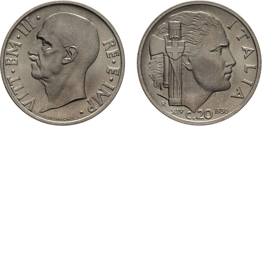 REGNO DITALIA. VITTORIO EMANUELE III. 20 CENTESIMI IMPERO 1936  Roma. Nichelio, 4,10 gr, 20 mm. SPL.
