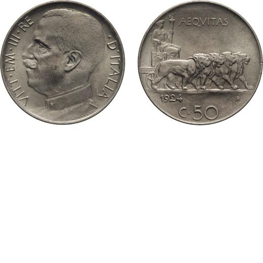 REGNO DITALIA. VITTORIO EMANUELE III. 50 CENTESIMI LEONI 1924 BORDO LISCIO Roma. Nichelio, 6,15 gr,