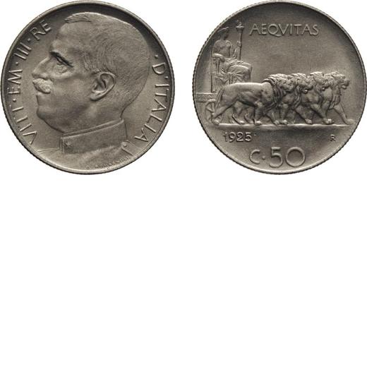 REGNO DITALIA. VITTORIO EMANUELE III. 50 CENTESIMI LEONI 1925 BORDO RIGATO Roma. Nichelio, 6,10 gr,