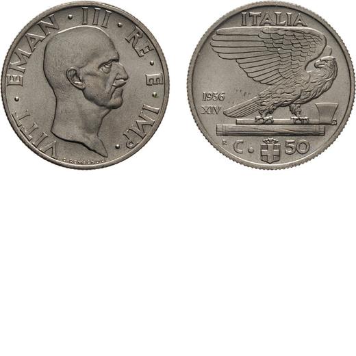 REGNO DITALIA. VITTORIO EMANUELE III. 50 CENTESIMI IMPERO 1936 Roma. Nichelio, 6 gr, 24 mm, FDC. Ex