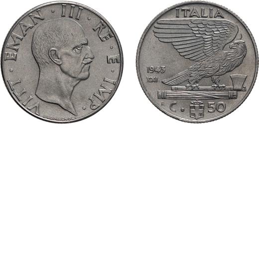 REGNO DITALIA. VITTORIO EMANUELE III. 50 CENTESIMI IMPERO 1943  Roma. Nichelio, 6 gr, 24 mm. SPL/SPL