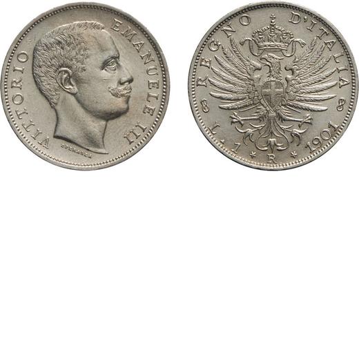REGNO DITALIA. VITTORIO EMANUELE III. 1 LIRA AQUILA SABAUDA 1901  Roma. Argento, 5 gr, 23 mm. SPL/FD