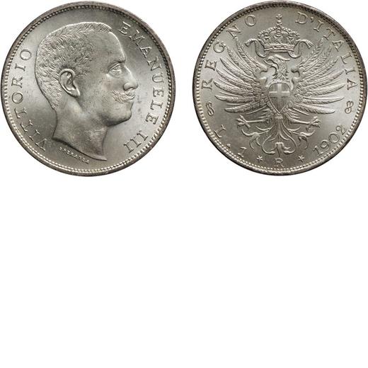 REGNO DITALIA. VITTORIO EMANUELE III. 1 LIRA AQUILA SABAUDA 1902  Roma. Argento, 5 gr, 23 mm. FDC.<b