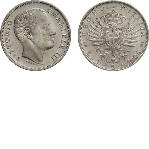 REGNO DITALIA. VITTORIO EMANUELE III. 1 LIRA AQUILA SABAUDA 1905  Roma. Argento, 5,03 gr, 23 mm. qFD