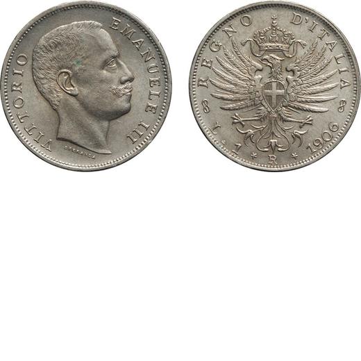 REGNO DITALIA. VITTORIO EMANUELE III. 1 LIRA AQUILA SABAUDA 1906  Roma. Argento, 5 gr, 23 mm. qFDC.<