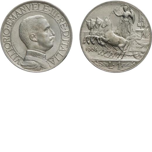 REGNO DITALIA. VITTORIO EMANUELE III. 1 LIRA QUADRIGA VELOCE 1908  Roma. Argento, 4,97 gr, 23 mm. qF
