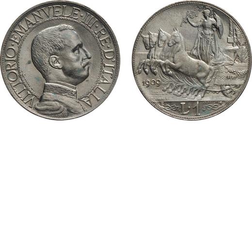 REGNO DITALIA. VITTORIO EMANUELE III. 1 LIRA QUADRIGA VELOCE 1909  Roma. Argento, 4,98 gr, 23 mm, qF