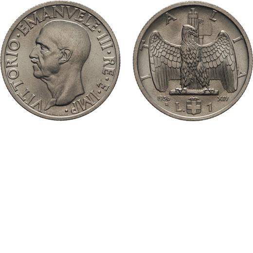 REGNO DITALIA. VITTORIO EMANUELE III. 1 LIRA IMPERO 1936 Roma. Nichelio, 8 gr, 26,5 mm. qFDC.<br>D: