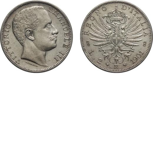 REGNO DITALIA. VITTORIO EMANUELE III. 2 LIRE AQUILA SABAUDA 1901  Roma. Argento, 10 gr, 27 mm. SPL .