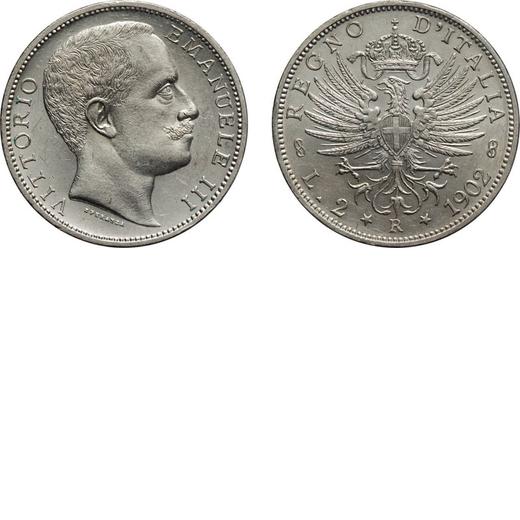 REGNO DITALIA. VITTORIO EMANUELE III. 2 LIRE AQUILA SABAUDA 1902  Roma. Argento, 10 gr, 27 mm. qFDC.