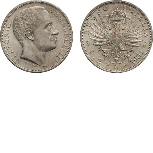 REGNO DITALIA. VITTORIO EMANUELE III. 2 LIRE AQUILA SABAUDA 1904  Roma. Argento, 9,98 gr, 27mm, FDC.