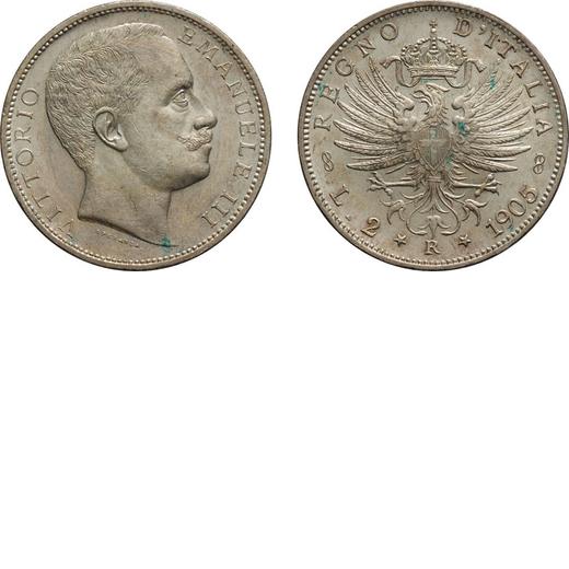 REGNO DITALIA. VITTORIO EMANUELE III. 2 LIRE AQUILA SABAUDA 1905  Roma. Argento, 9,96 gr, 27 mm, FDC