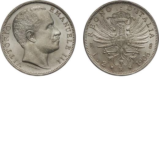 REGNO DITALIA. VITTORIO EMANUELE III. 2 LIRE AQUILA SABAUDA 1906  Roma. Argento, 10,04 gr, 27 mm. FD