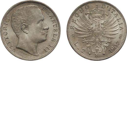 REGNO DITALIA. VITTORIO EMANUELE III. 2 LIRE AQUILA SABAUDA 1907  Roma. Argento, 9,97 gr, 27 mm, qFD