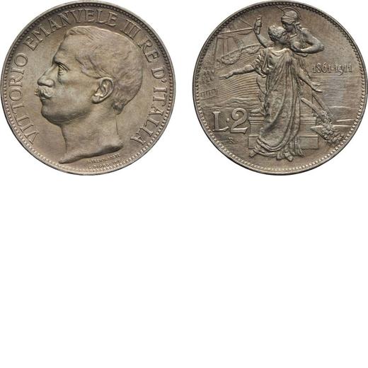 REGNO DITALIA. VITTORIO EMANUELE III. 2 LIRE UI 1911 Roma. Argento, 10 gr, 27 mm. qFDC.<br>D: VITTOR