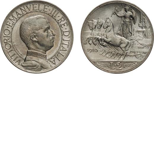 REGNO DITALIA. VITTORIO EMANUELE III. 2 LIRE QUADRIGA VELOCE 1910  Roma. Argento, 10,02 gr, 27 mm. F